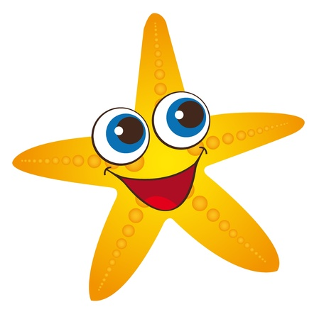yellow starfish isolated over white background. vector