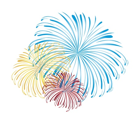 blue, yellow and red fireworks isolated white background. vector