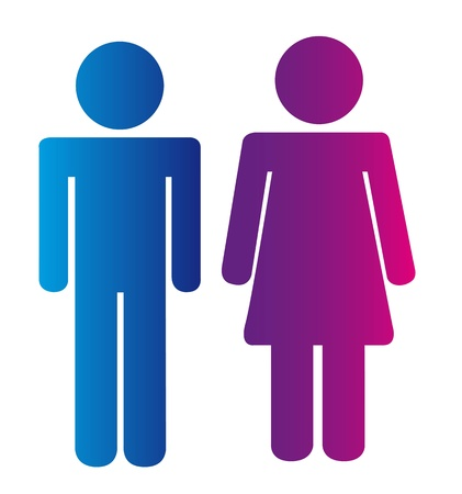 men and woman signs isolated over white background. vector