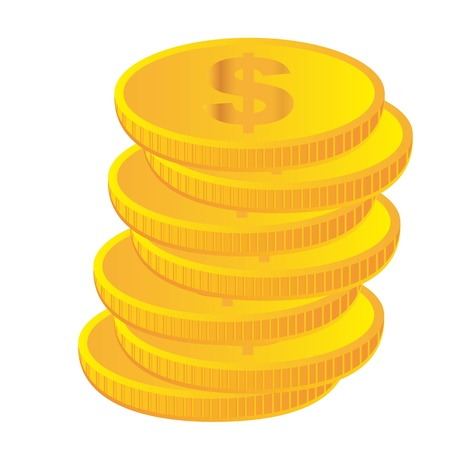 gold coins isolated over white background. vector