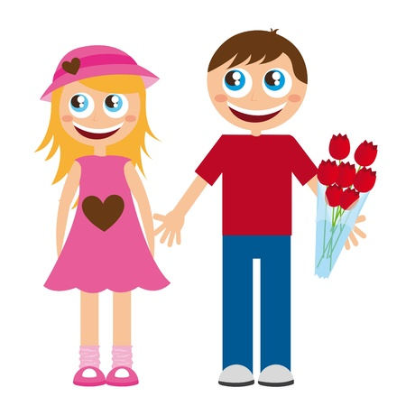 boy and girls cartoons with roses over white background. vector