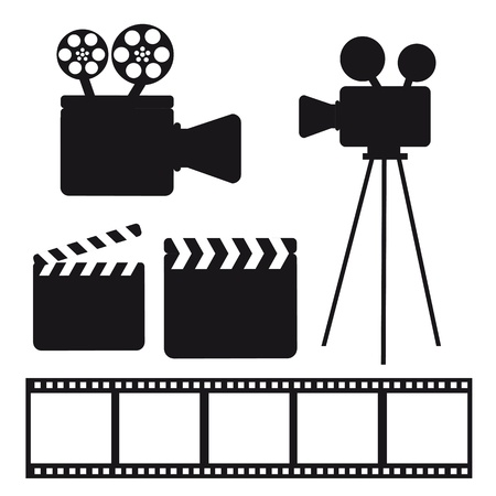 black silhouette cinema elements over white background. vector