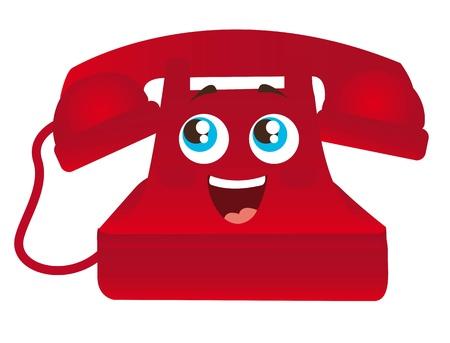 red happy telephone cartoon with eyes isolated illustration