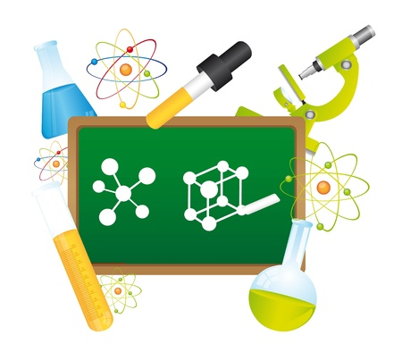 green chalkboard,  with science elements.  vector illustration