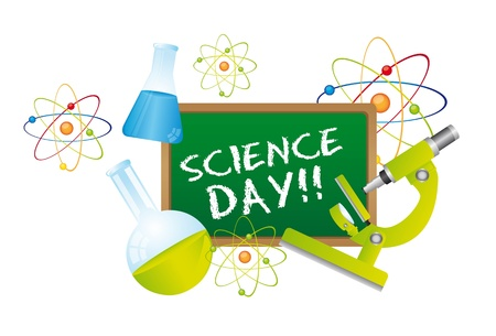 science day text over chalkboard with science elements. vector
