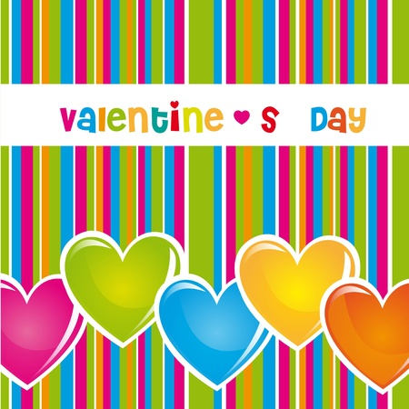 Colors valentines day with lines and hearts, illustration