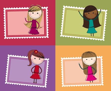 Ilustración de cute stamps with girls isolated background. illustration - Imagen libre de derechos