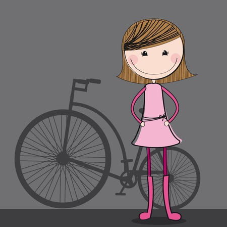 cute girl with bike over gray background. illustration