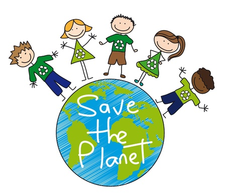 children all over planet over white background, recycle.