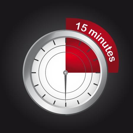 timer clock over black background, 15  minutes. vector
