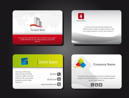 four presentation cards over black background. vector