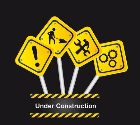 road signs over black background, under construction. vector