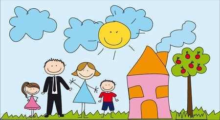 Photo for cute family with house, drawing. - Royalty Free Image