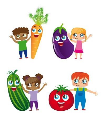 children and vegetables isolated over white background.のイラスト素材