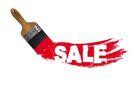 sale paint with brush isolated over white background.