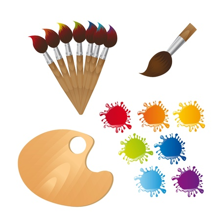 Illustration pour paint brushes with wooden palette and paint. - image libre de droit