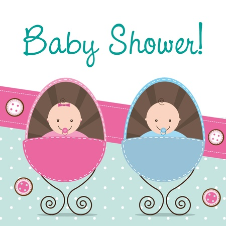 Photo for baby shower card with two babies. - Royalty Free Image