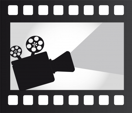 movie projector over film strip. vector illustration