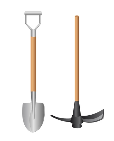 shovel and  tools isolated over white background. vector illustration