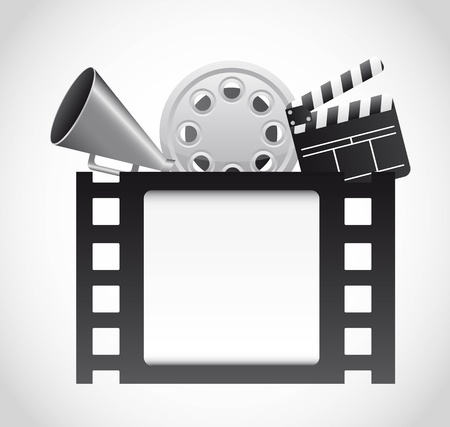 film strip with cinema elements over gray background. vector
