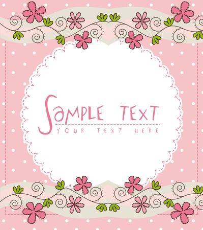 Ilustración de pink cute card with flower over pink background - Imagen libre de derechos