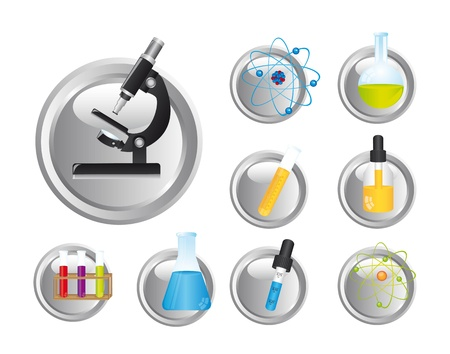 chemical icons over white background