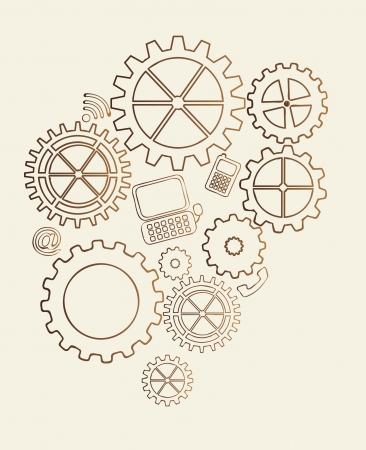 gears vintage over beige background. vector illustration