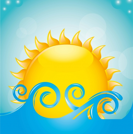 sun with sea over sky background. vector illustration