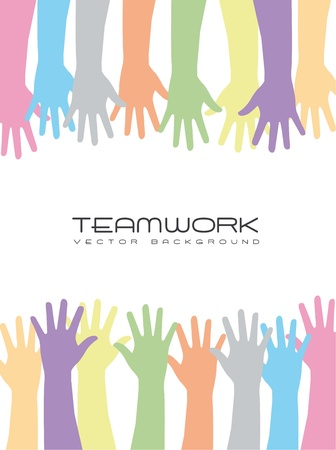 cute hands over white background, teamwork. vector
