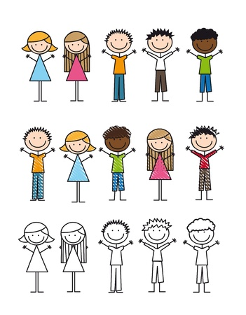 children drawing isolated over white background. vector