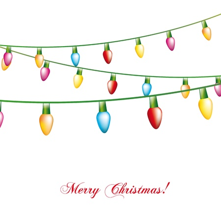 christmas lights isolated over white background. illustration