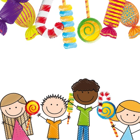 candies and children over white background. illustration