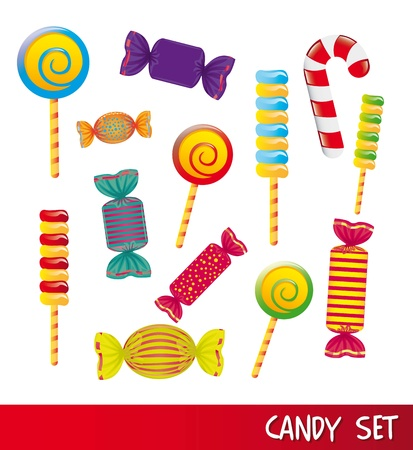 candies set isolated over white background. vector illustrationのイラスト素材