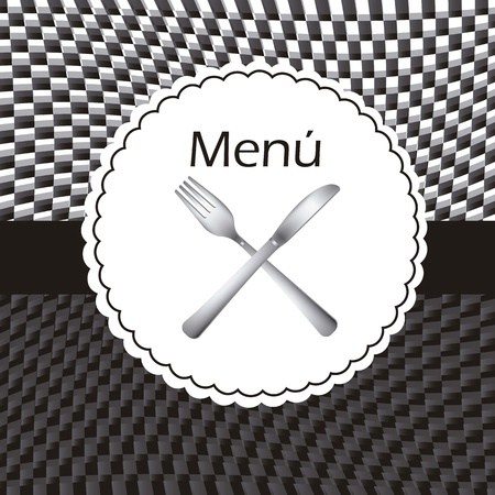 menu with knife and fork, black and white. vector illustration