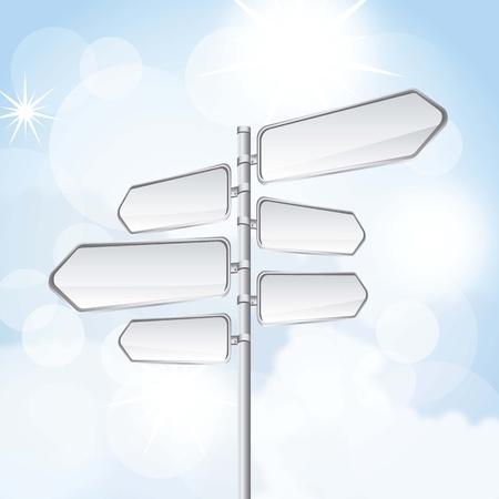 blank road sign over sky background illustration