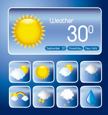 with icons over blue background, weather change. vector