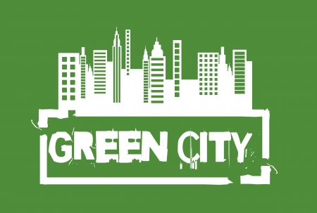 white green city seal over green background.