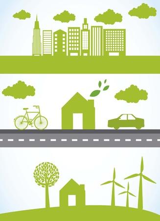 Illustration pour green city with car and bike, ecology.  - image libre de droit