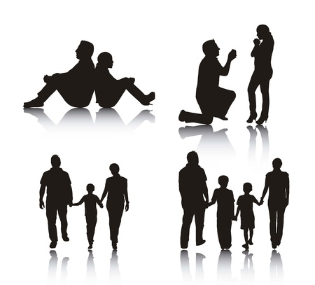 couple and family silhouette over white background.