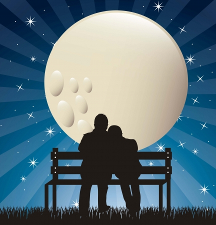 Illustration for couple silhouette in the night with moon.  - Royalty Free Image