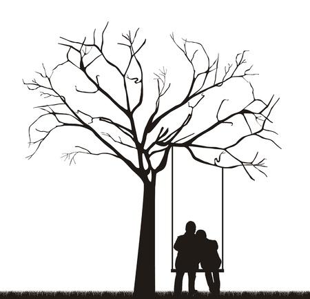 Illustration pour black couple under tree over swing.  - image libre de droit