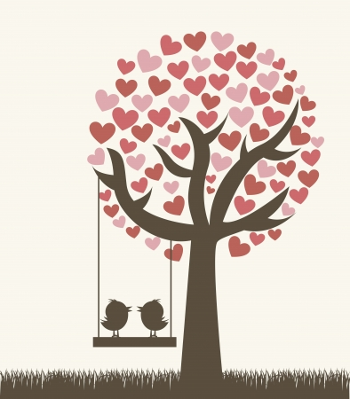 love tree with two birds, vintage style.