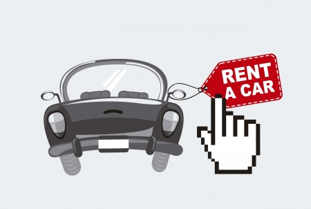 rent a car with cursor hand, black and white.