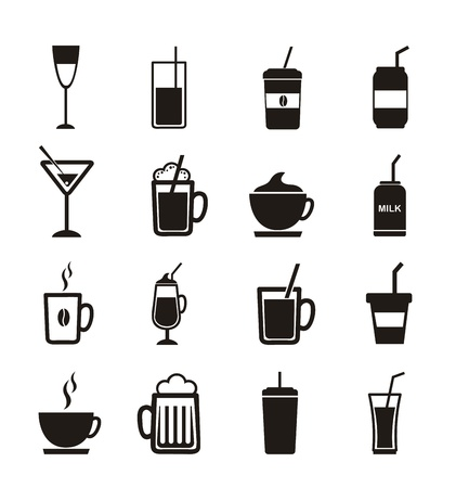 drinks icons over white background. vector illustration