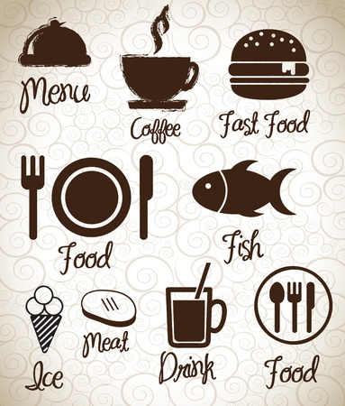 Menu  icons silhouettes  over background vector illustration