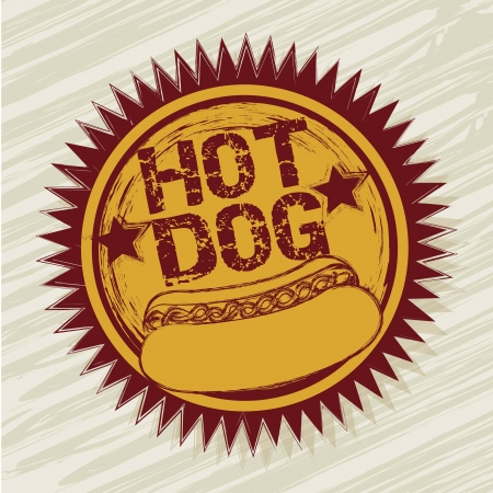 hot dog label over beige background. vector illustration