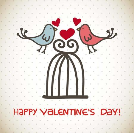 Ilustración de happy valentines day card over vintage background. vector - Imagen libre de derechos