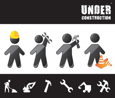 Illustration pour men construction with under construction tools vector illustration - image libre de droit