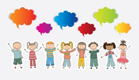 Children over white background with colors cloud vector illustration