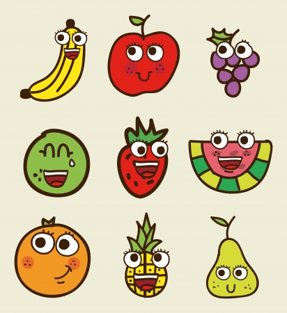 fruits drawing over beige background. vector illustration